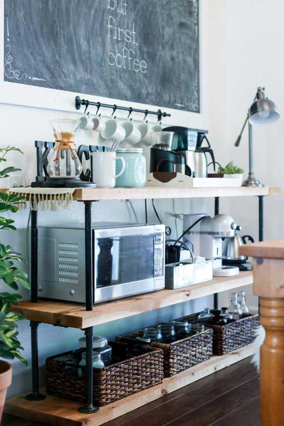 DIY Black Pipe Coffee Bar Station.