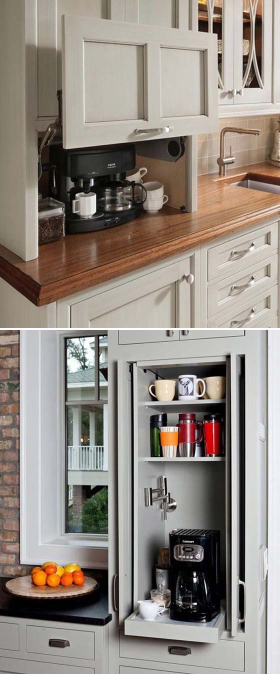Hide away a coffee station behind sliding cabinet doors.