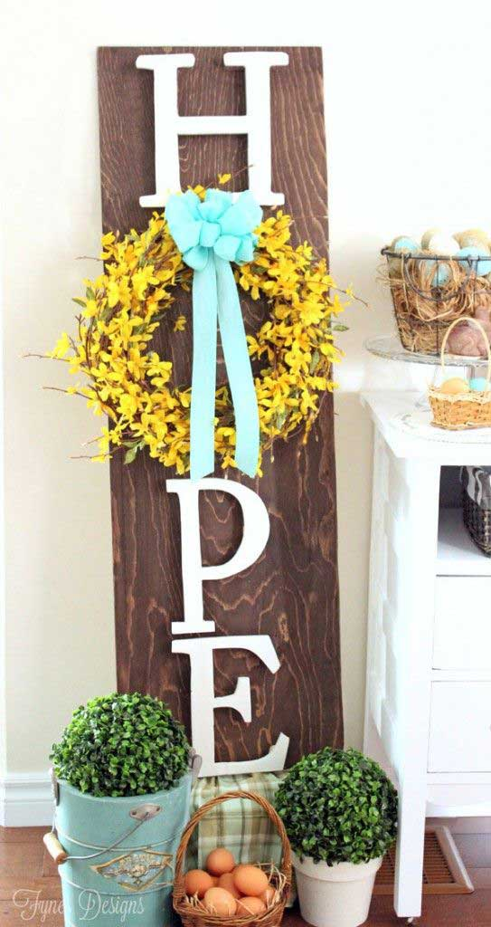 A stunning Hope Easter Wreath sign to add to your Easter decor.