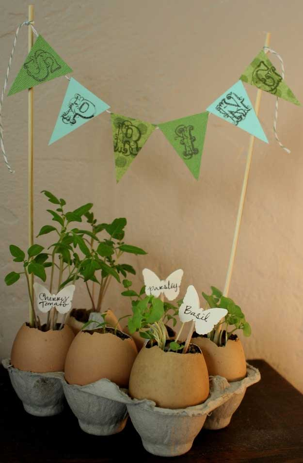 Make eggshell planters to greet this Spring.