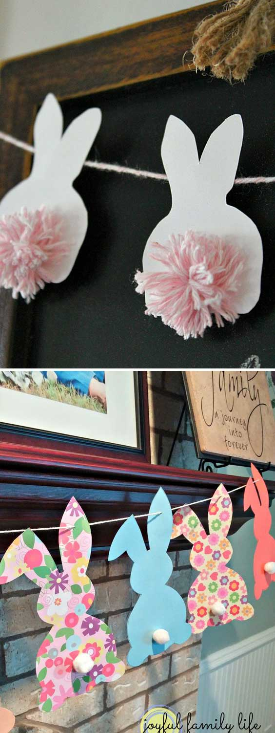 Make cute pom pom bunny Easter bunting.