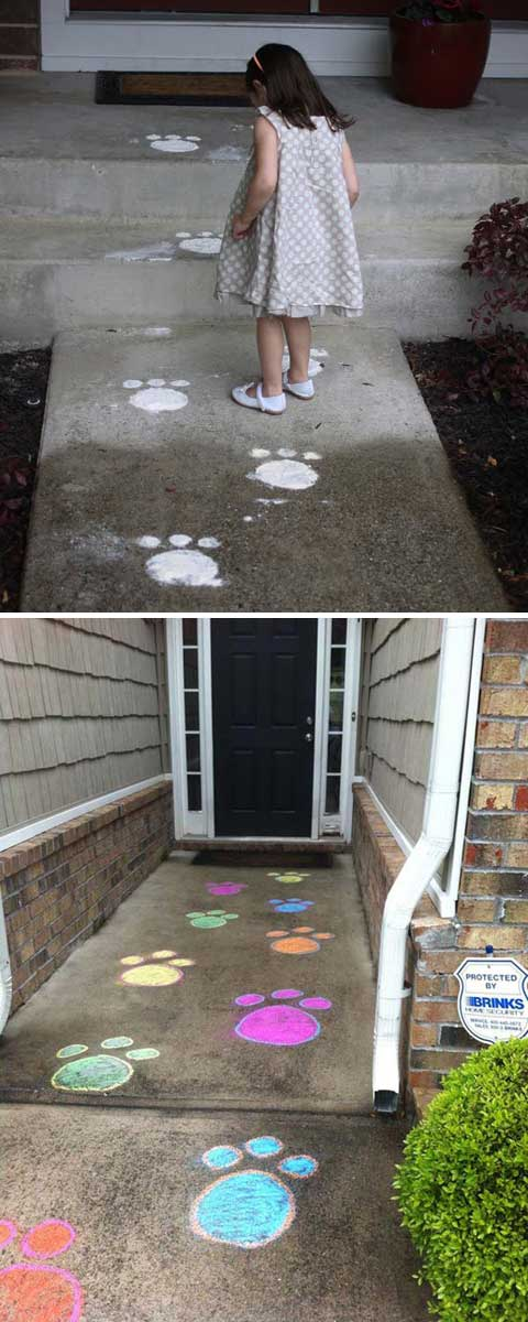 Easter Bunny left bunny prints.