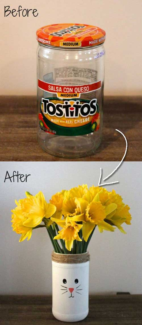 Recycled Easter Bunny Vases.