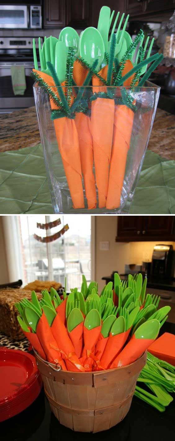 Make cute carrot napkins for Easter dinner party.