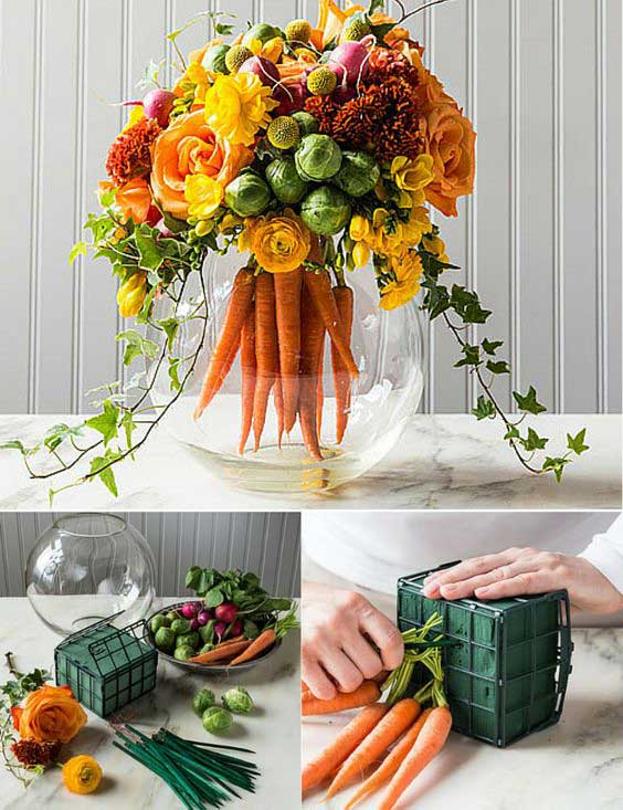 Make a cool Easter centerpiece like this mix of traditional floral arrangements and a bouquet of carrots.
