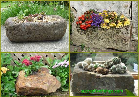 Stones can be transformed in rustic and different planters for you decorate all your garden and house.