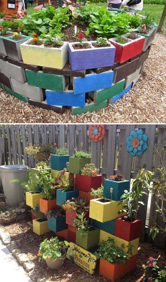Colorful Garden Bed Made from Painted Cinder Blocks.