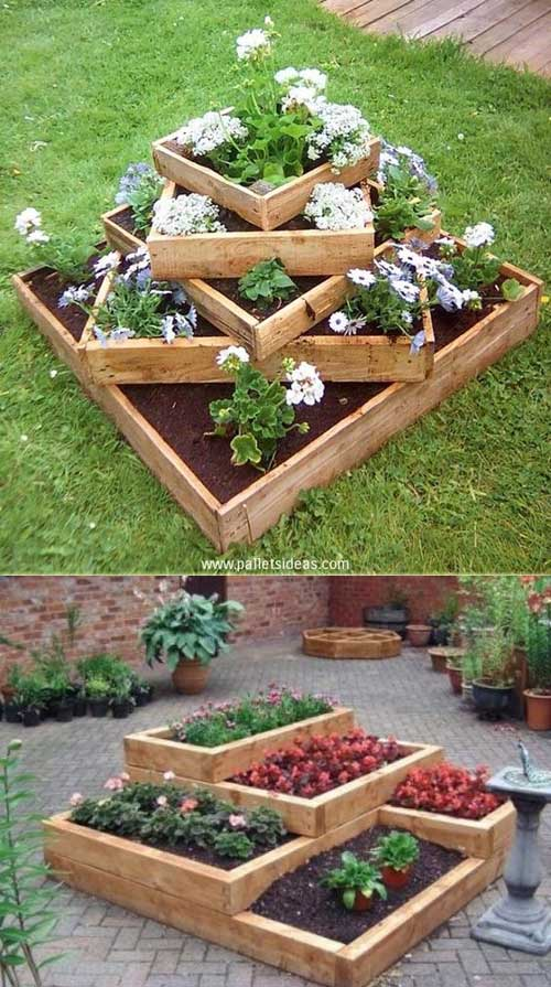 Build tiered beds from wooden pallets.