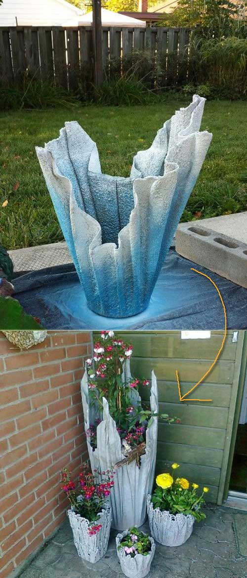 Planter made from old towel and quick dry cement.