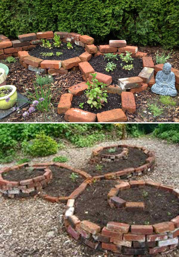 Make round raised garden bed with Bricks.