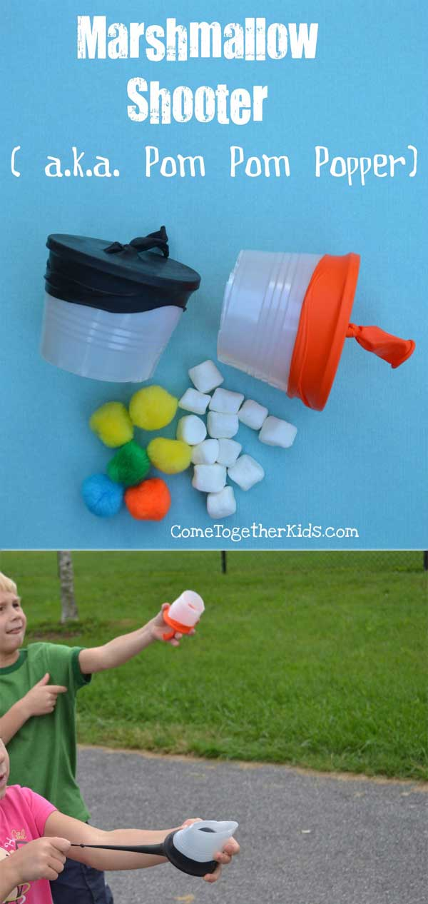 Enjoy outdoor time with these mini marshmallow or pom pom shooters.