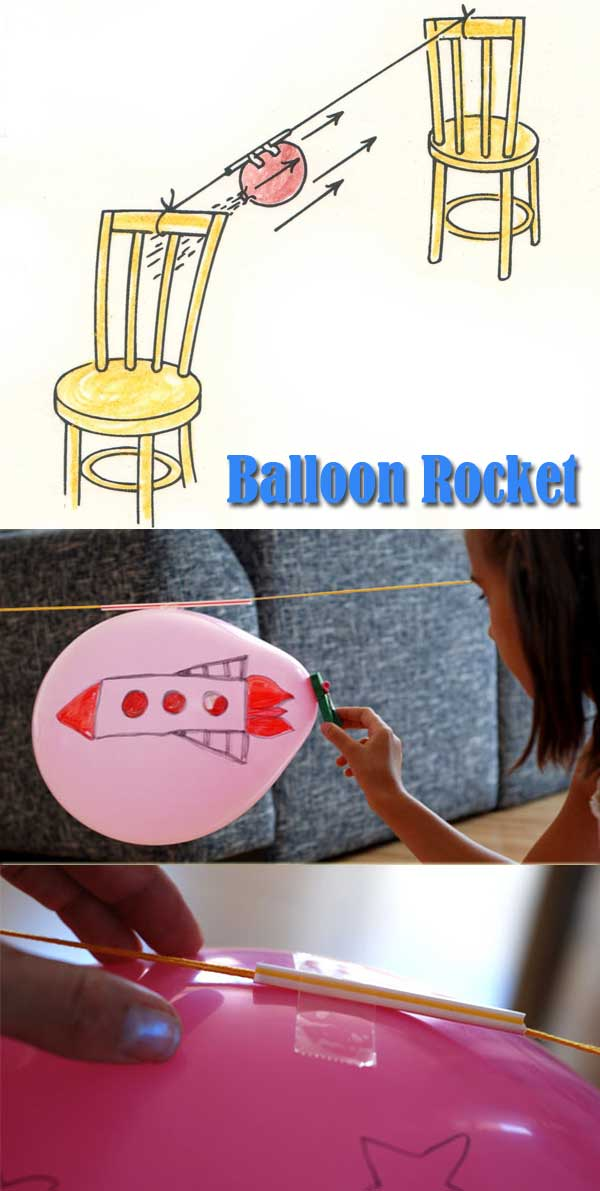 This easy balloon rocket will provide hours of entertainment for kids when they are always complain about being bored at home.