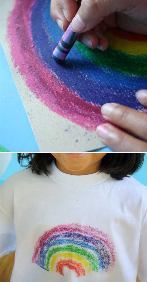 Transfer kids' crayon sandpaper painting onto their T shirt.