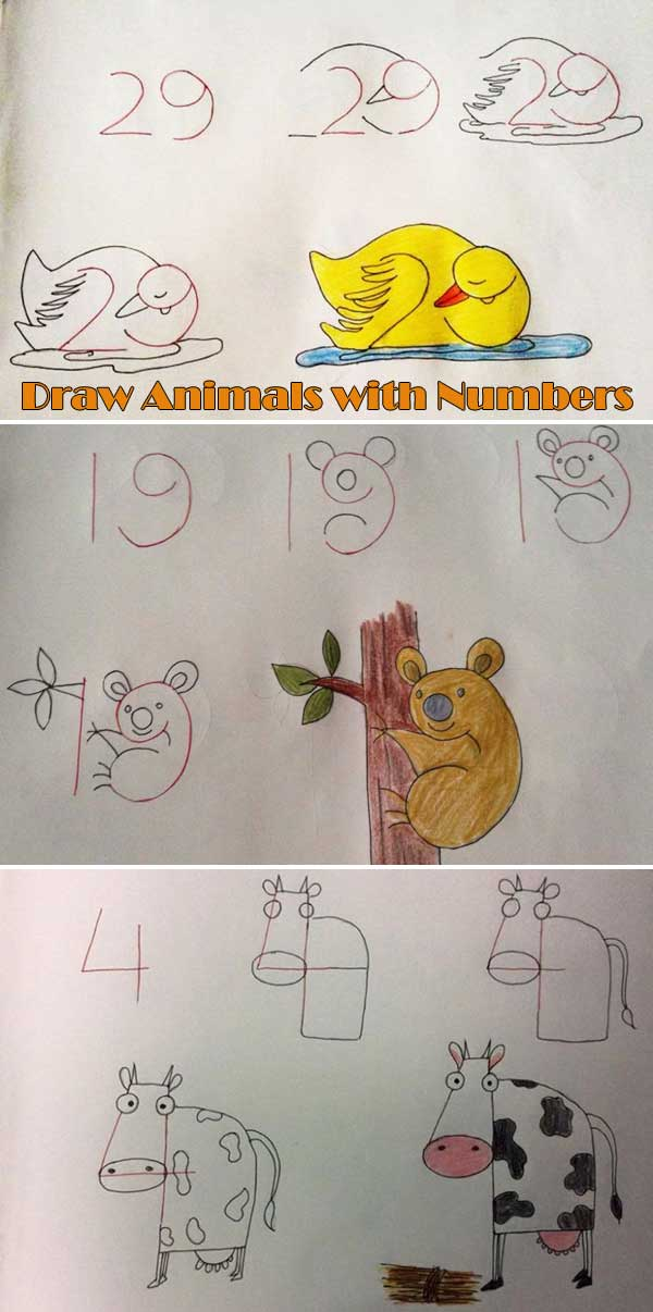 Learn to draw animals with letters and numbers.