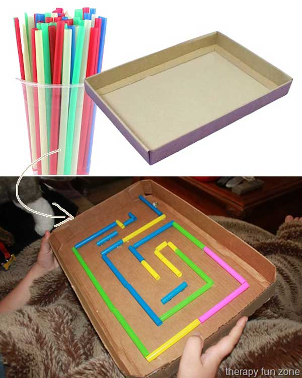 Keep the kids busy with this marble maze made out of a cardboard box and some straws.
