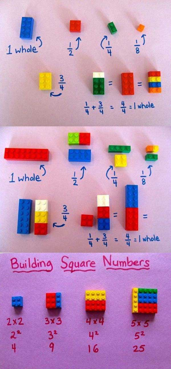 Study basic math concepts using LEGO toys.