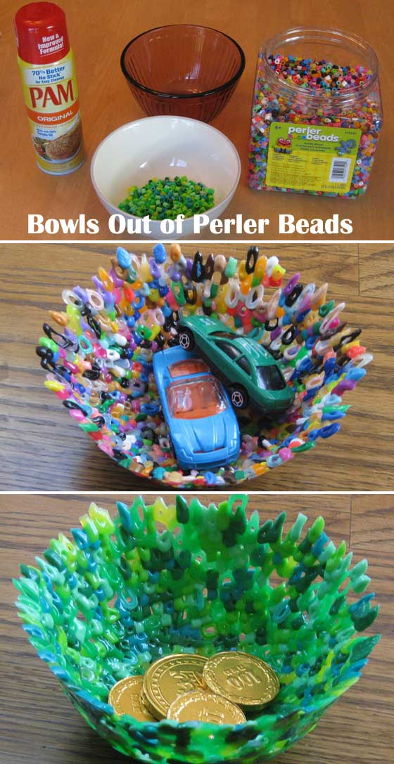Create these great bowls out of Perler beads.