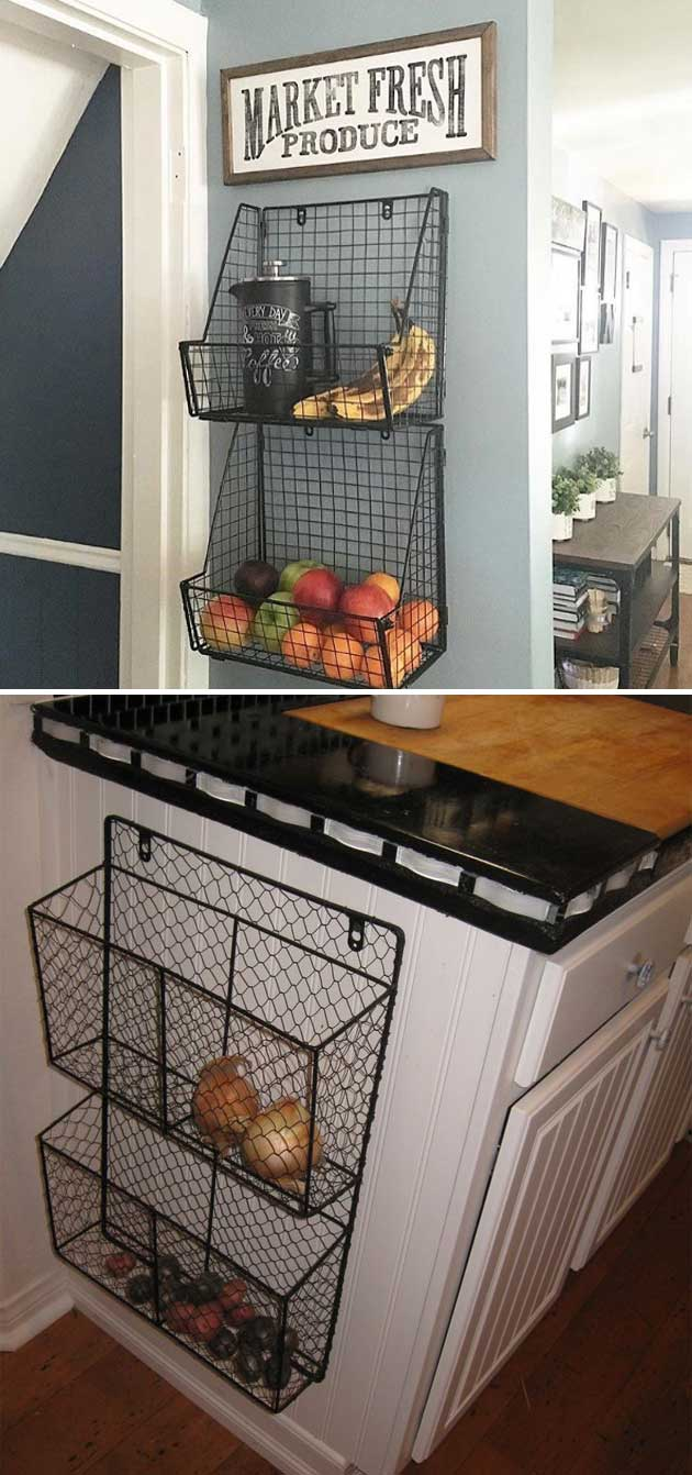 Attach wire baskets to the side of kitchen wall or cabinet.