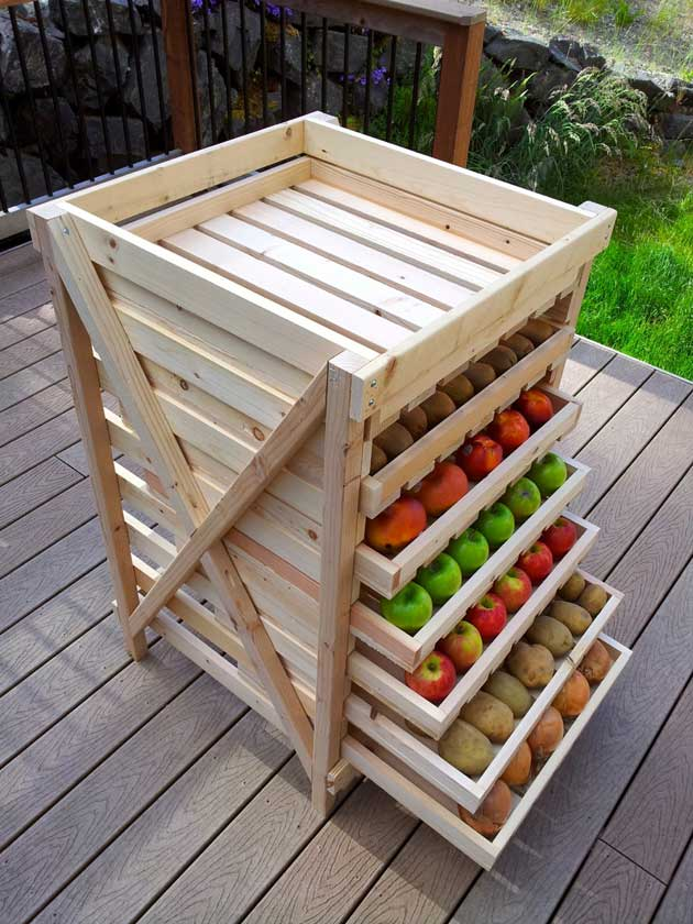 Build a multi layer shelf as produce storage.