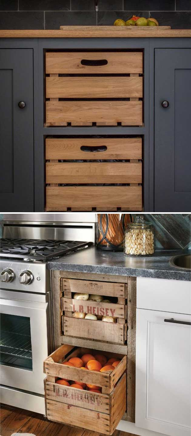 Add farmhouse style to kitchen by replacing cabinet drawers with these old wooden crates.