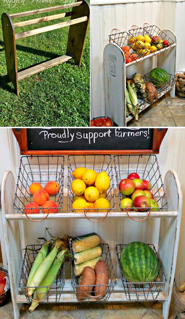 Paint an old blanket rack and then add some wire baskets to turn it into a farmhouse vegetable stand.