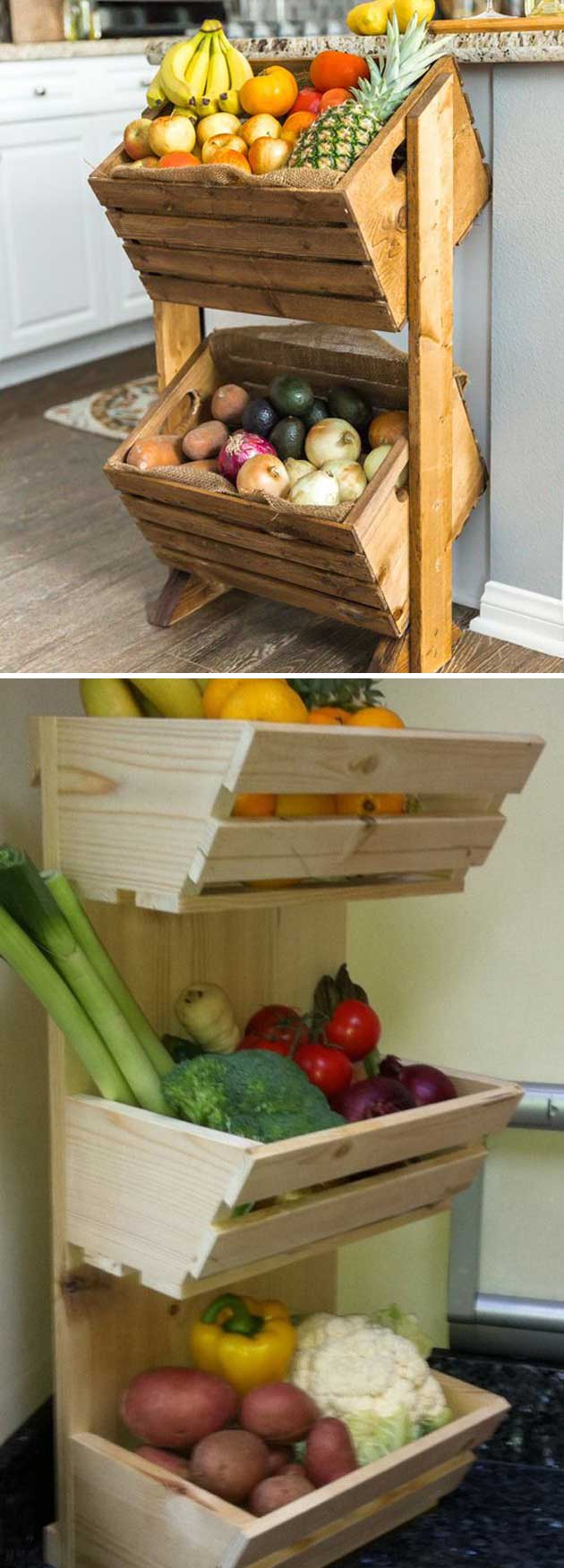 DIY Multi Tier Wood Produce Stan.
