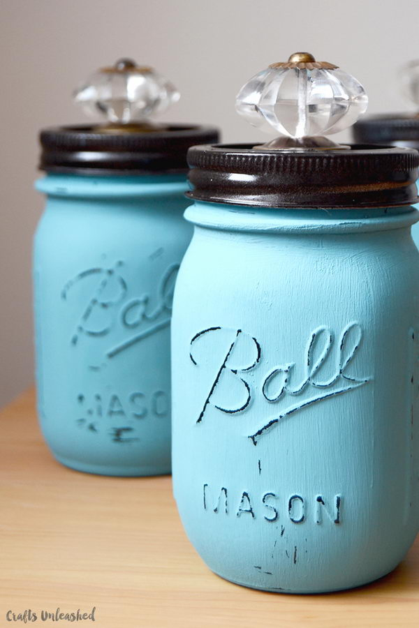 DIY Jars with Decorative Crystal Knobs.