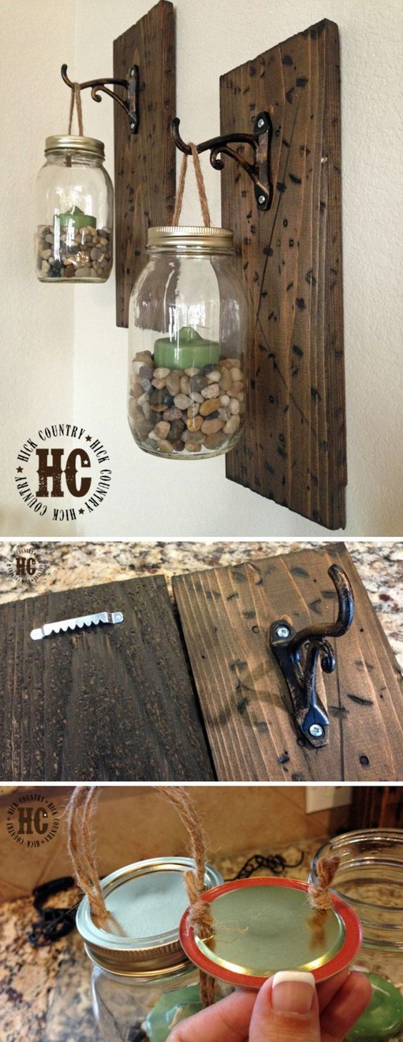 DIY Rustic Mason Jar Wall Lanterns.