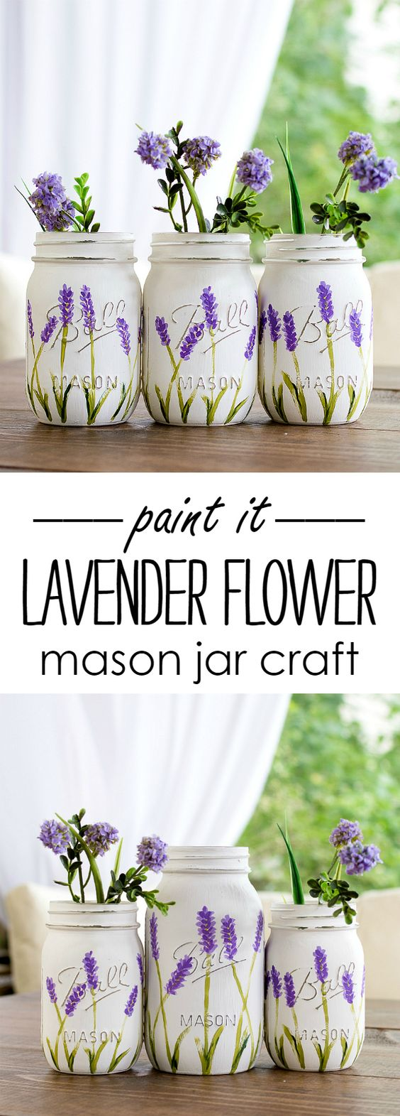Lavender Flower Painted Mason Jars.