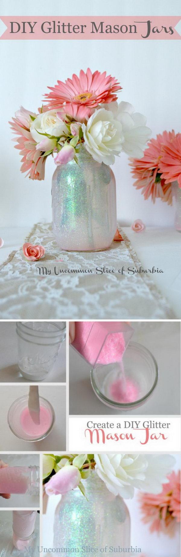 DIY Glitter Mason Jar.
