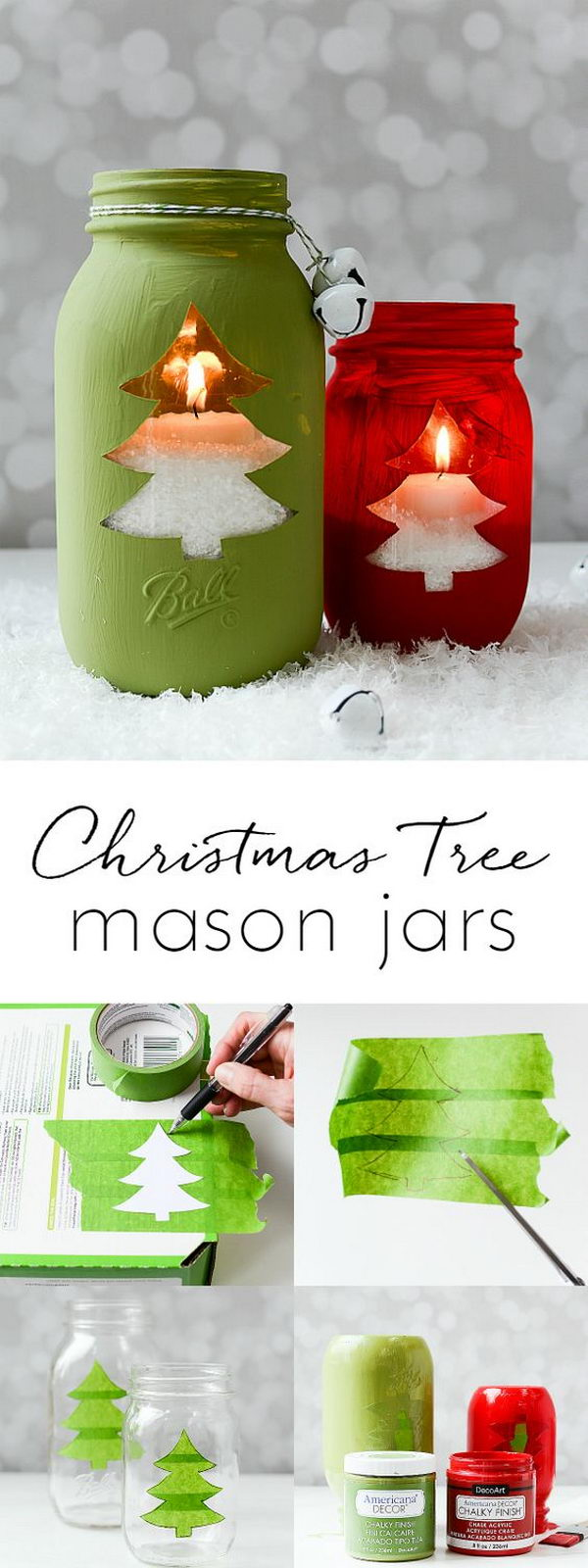 Christmas Tree Mason Jar Votive.