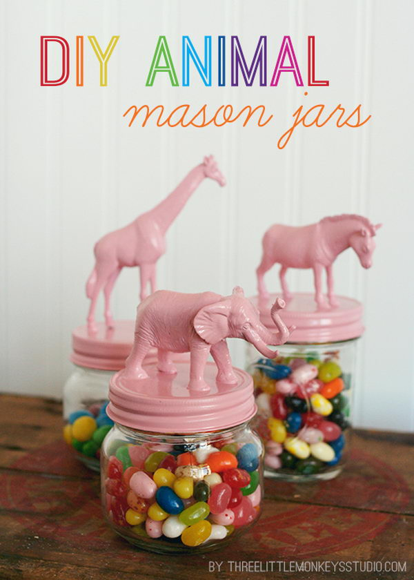DIY Animal Mason Jars.