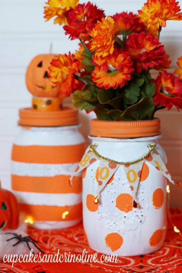 Polka Dot and Striped Halloween Mason Jars.