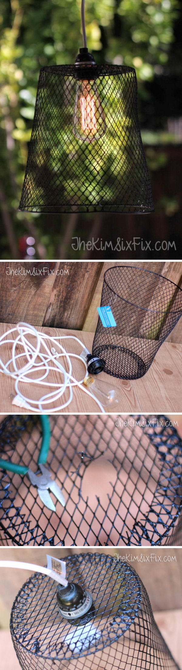 DIY Wire Basket Lighting.