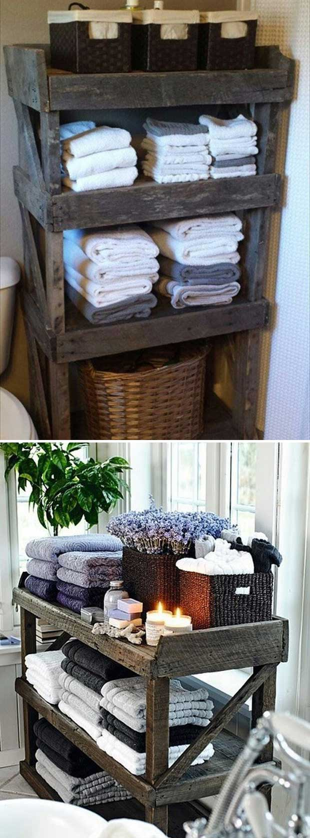 Rustic Wood Bathroom Storage.