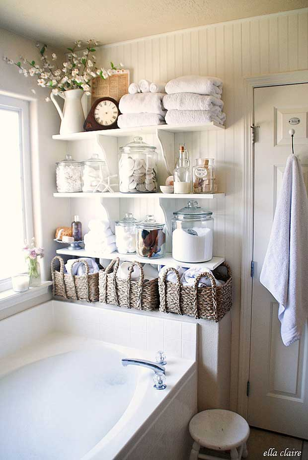 DIY Bathroom Linen Shelves.