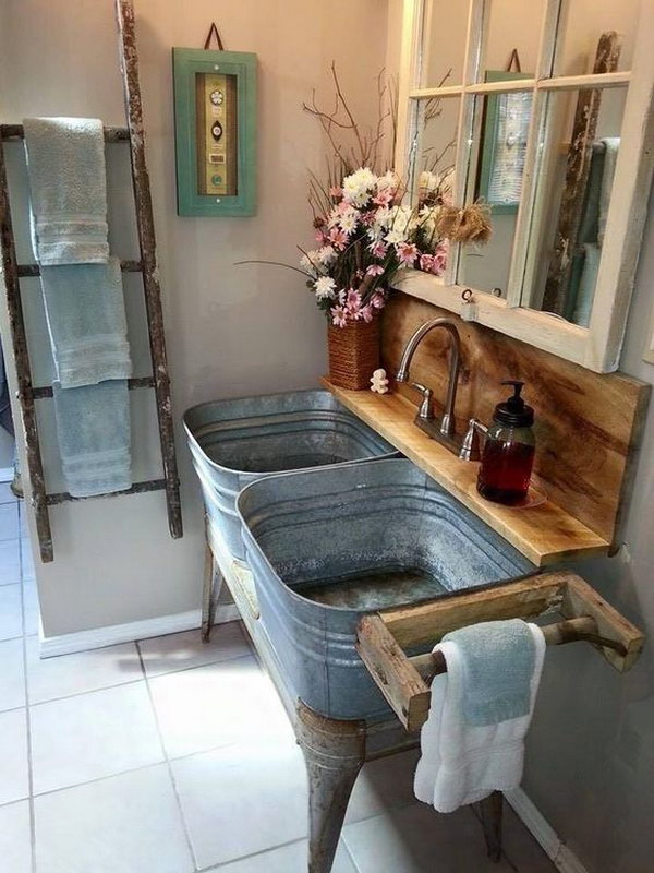 Hanging Ladder For Bathroom Shelf.