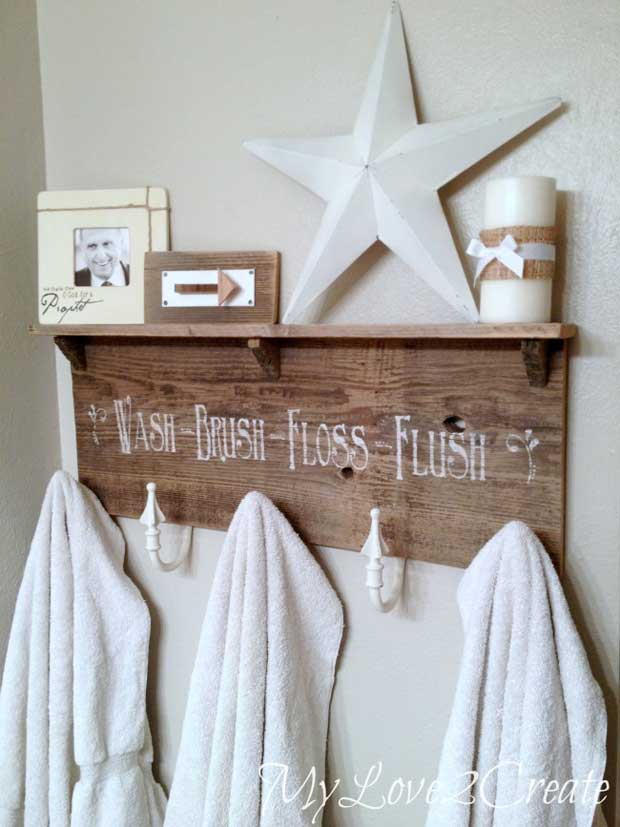 Wood Pallet Bathroom Shelf.