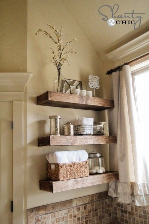 Easy DIY Floating Shelves For Rustic Bathroom.