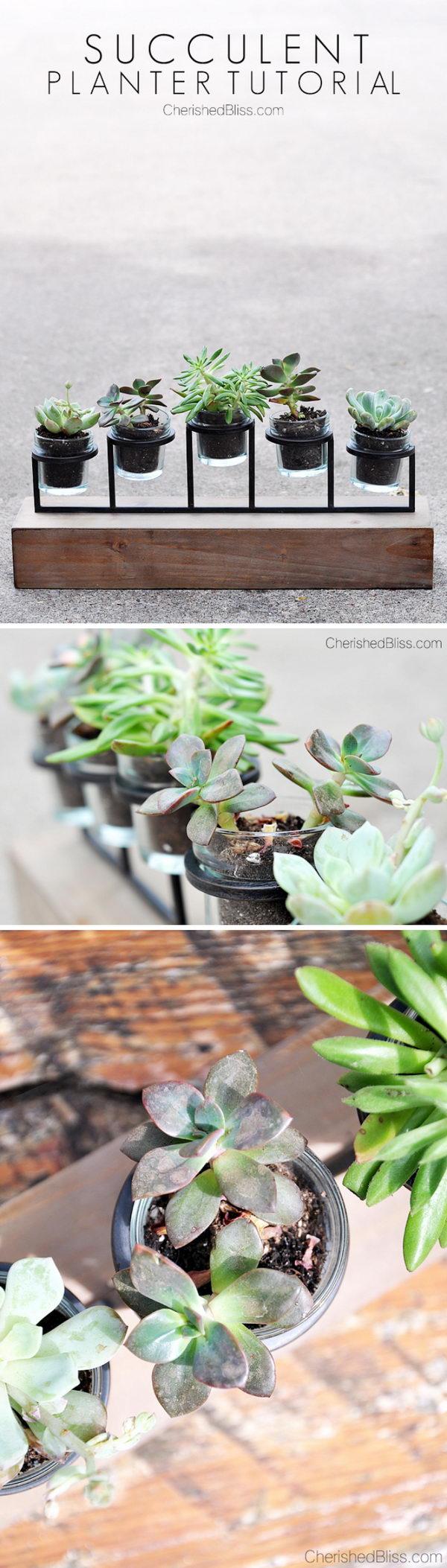 DIY Candleholder Succulent Garden.